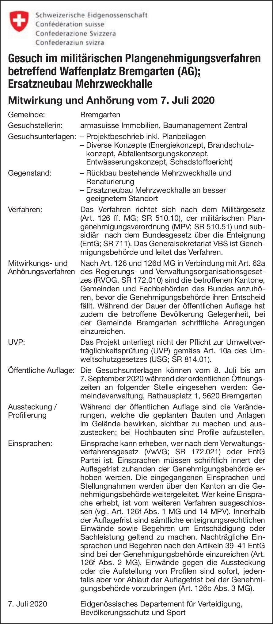 Gesuch im militärischen Plangenehmigungsverfahren betreffend Waffenplatz Bremgarten