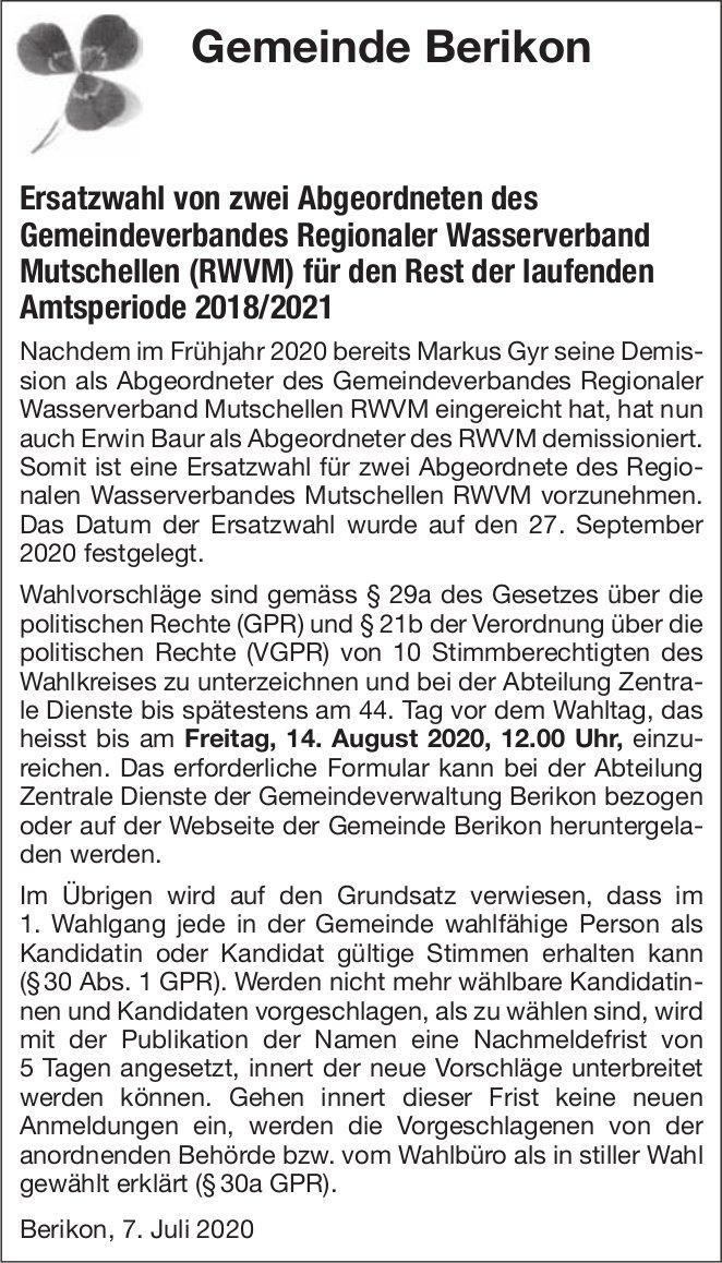 Ersatzwahl von zwei Abgeordneten des Gemeindeverbandes Regionaler Wasserverband