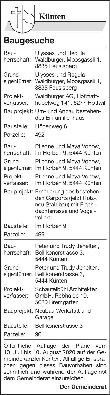 Gemeinde Künten  - Baugesuche
