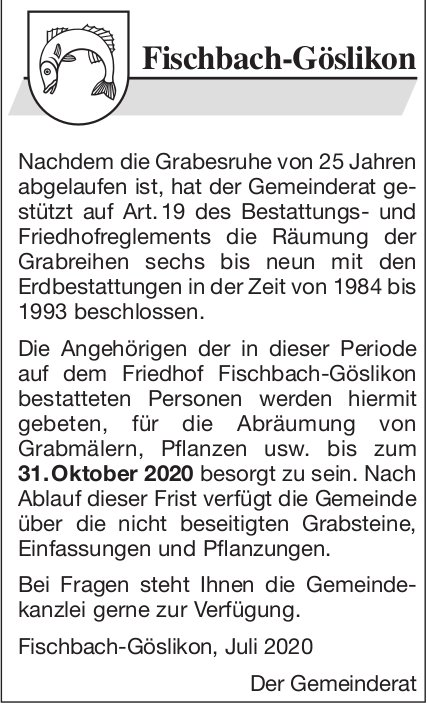 Fischbach-Göslikon  - Ablauf Gräber