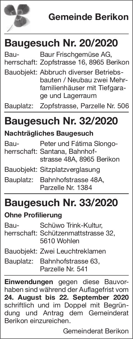 Berikon - Baugesuche