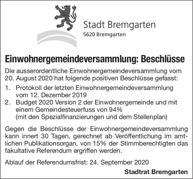 Stadt Bremgarten, Einwohnergemeindeversammlung: Beschlüsse