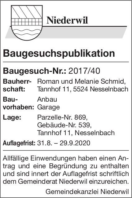 Gemeinde Niederwil- Baugesuchspublikation