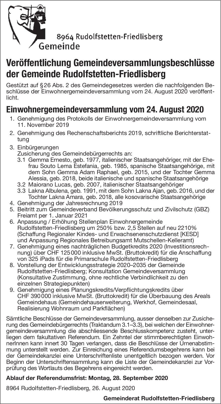 Gemeinde Rudolfstetten-Friedlisberg,  Freiamt - Veröffentlichung Gemeindeversammlungsbeschlüsse der Gemeinde Rudolfstetten-Friedlisberg