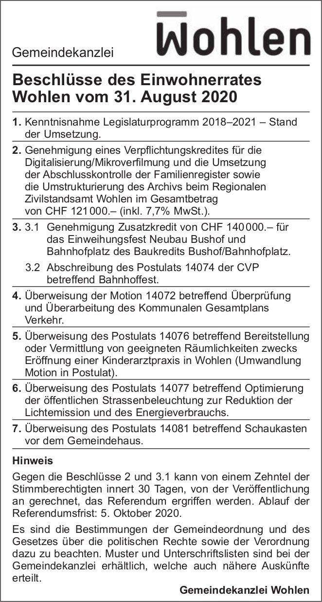 Gemeinde Wohlen,  Beschlüsse des Einwohnerrates Wohlen vom 31. August 2020