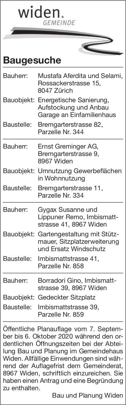 Gemeinde Widen - Baugesuche