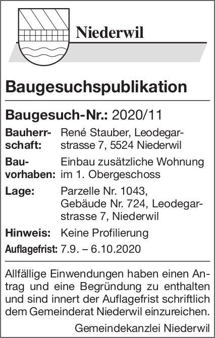 Baugesuche, Gemeinde Niederwil,  Baugesuchspublikation