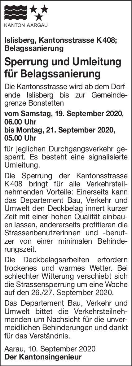 Aarau - Kanton Aargau, Sperrung und Umleitung für Belagssanierung
