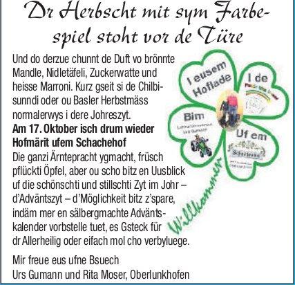 Hofmärit ufem Schachehof am 17. Oktober