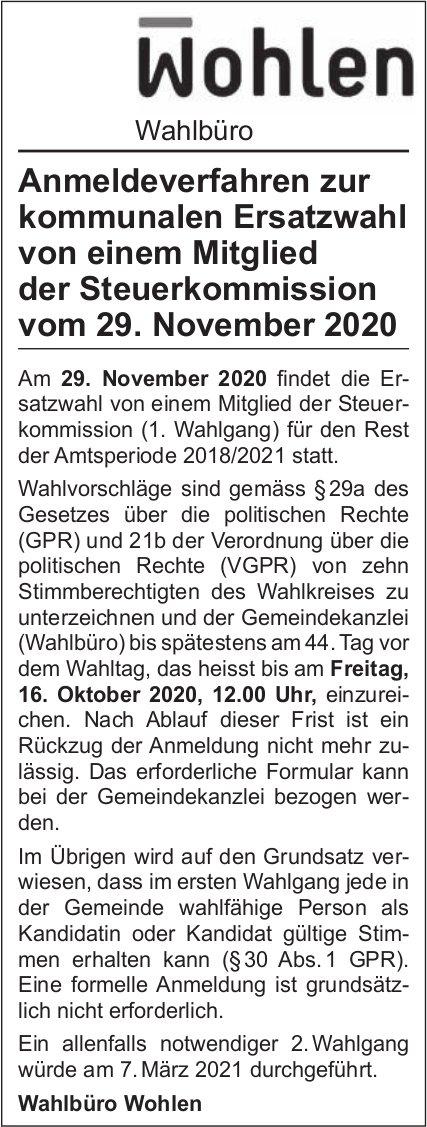 Gemeinde Wohlen - Anmeldeverfahren zur kommunalen Ersatzwahl Mitglied Steuerkommission