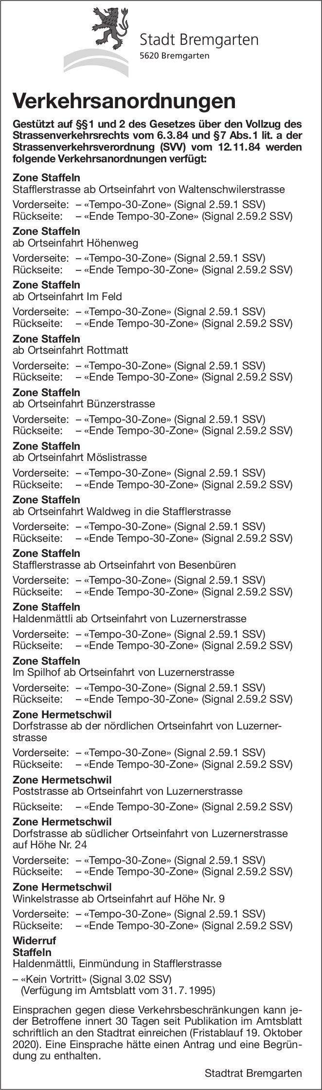 Stadt Bremgarten - Verkehrsanordnungen