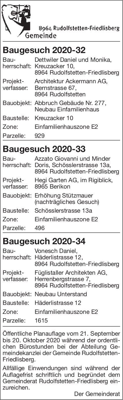 Gemeinde Rudolfstetten - Baugesuche