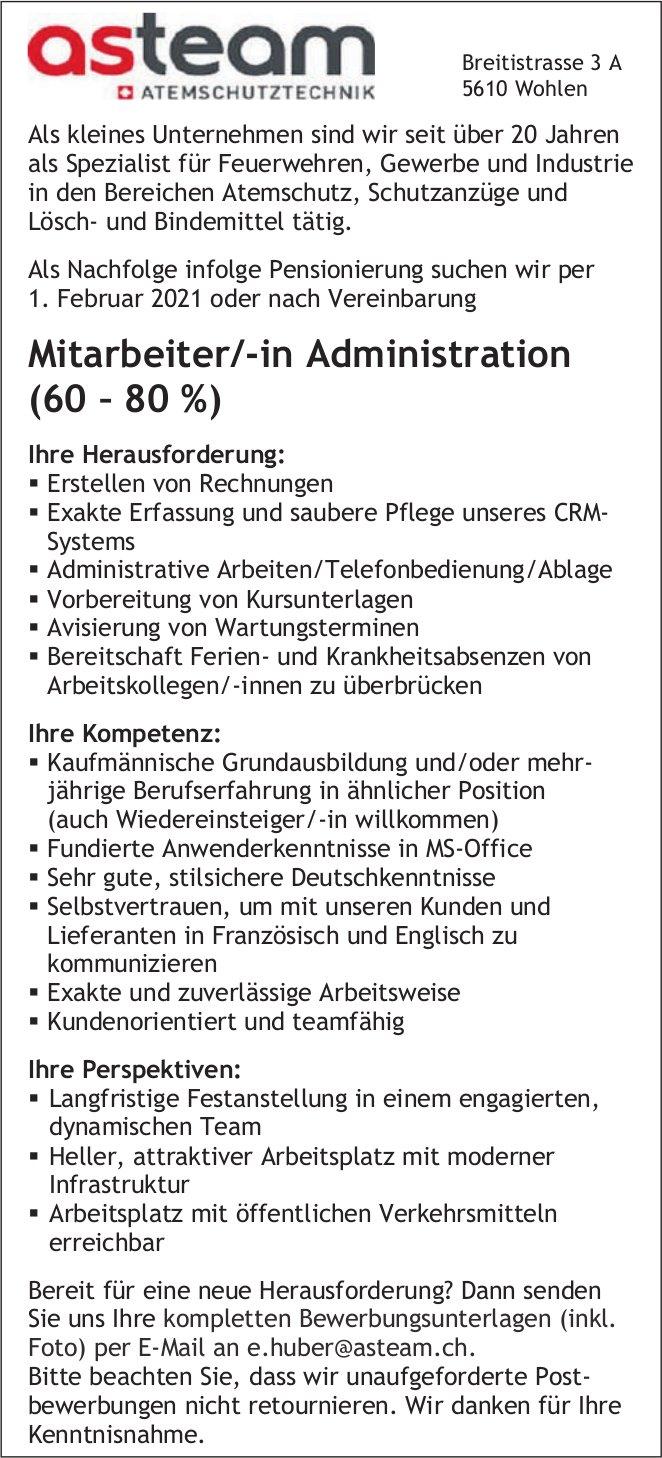Mitarbeiter/-in Administration (60–80 %) gesucht