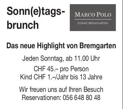Marco Polo Bremgarten, Sonntagsbrunch