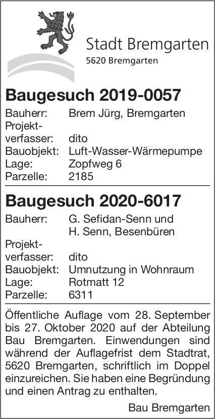 Stadt Bremgarten, Baugesuche