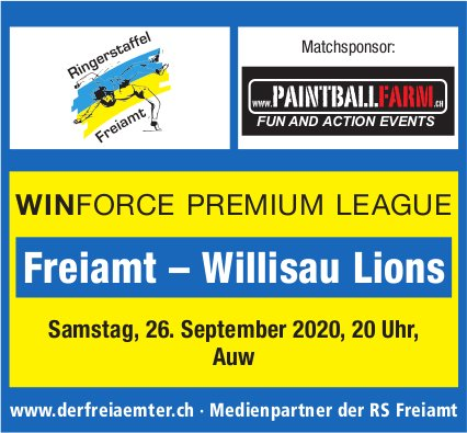 WinForce Premium League Freiamt vs. Willisau Lions am 26. September