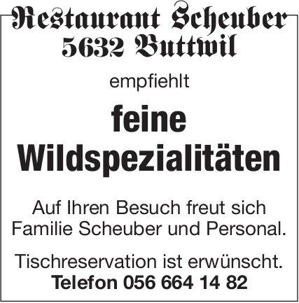 Restaurant Scheuber Buttwil - feine Wildspezialitäten