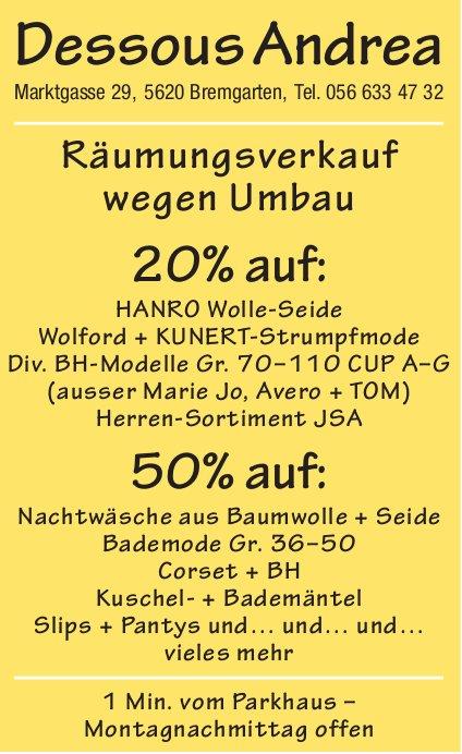Dessous Andrea Bremgarten - Räumungsverkauf wegen Umbau