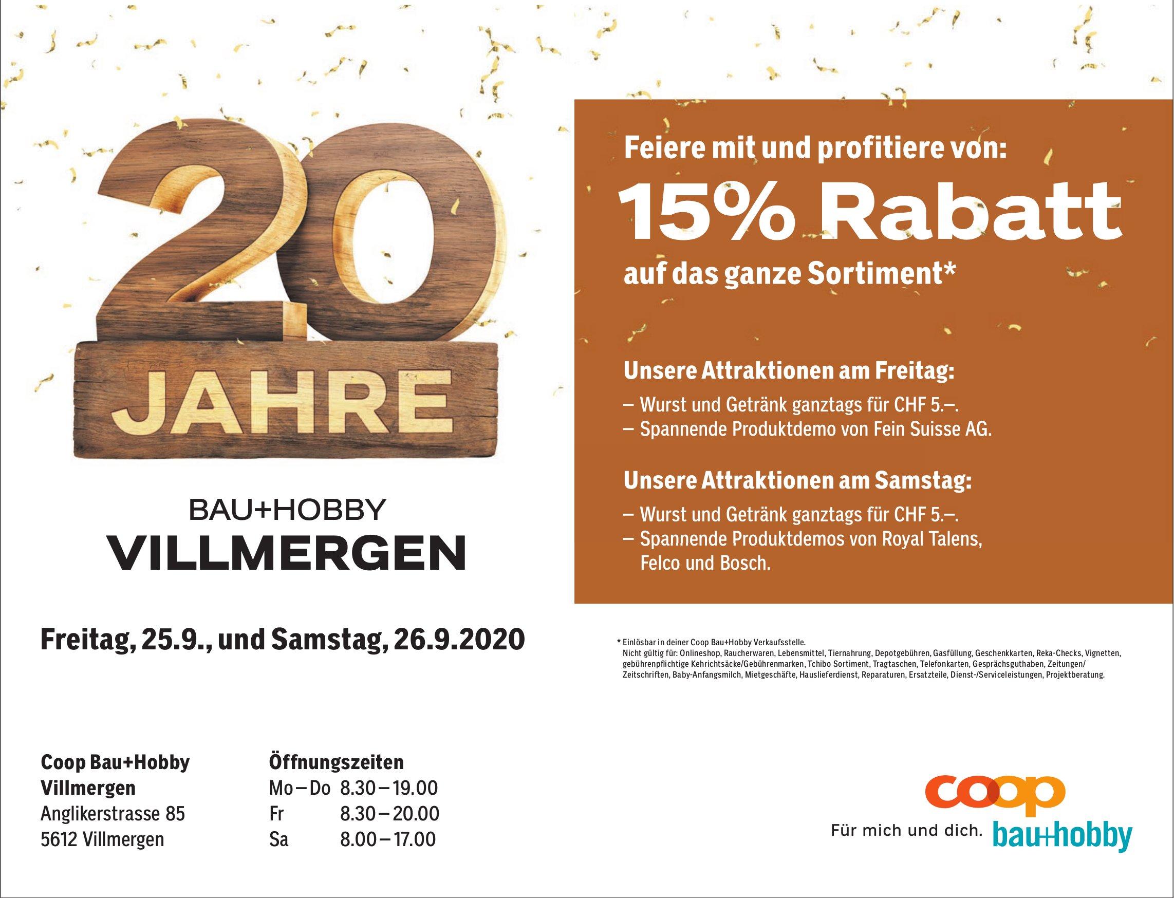 15% Rabatt Coop Bau + Hobby Villmergen