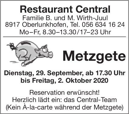 Restaurant Central Oberlunkhofen - Metzgete am 29. September