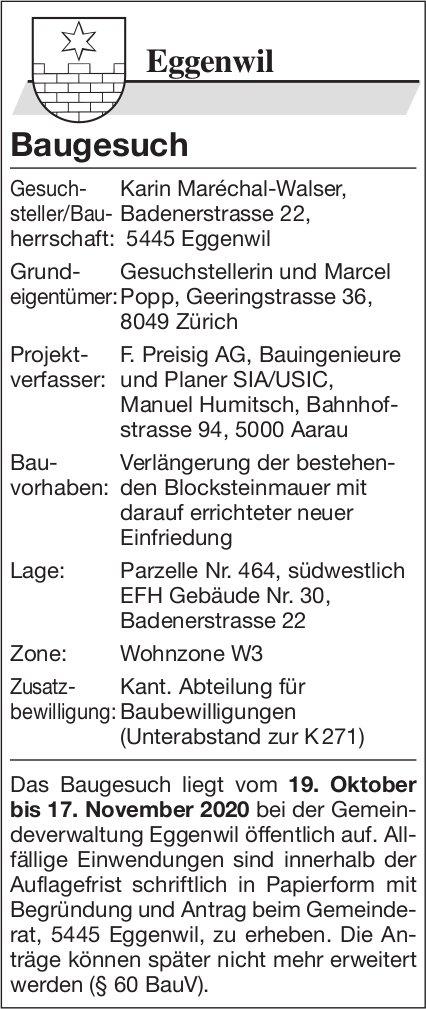 Gemeinde Eggenwil - Baugesuche