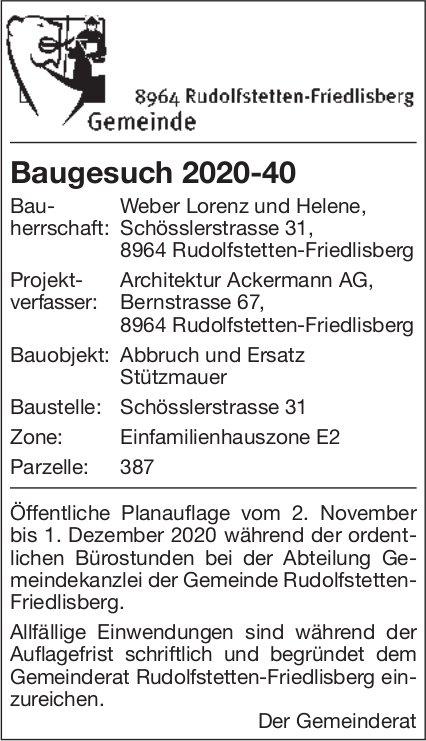 Gemeinde Rudolfstetten - Baugesuch