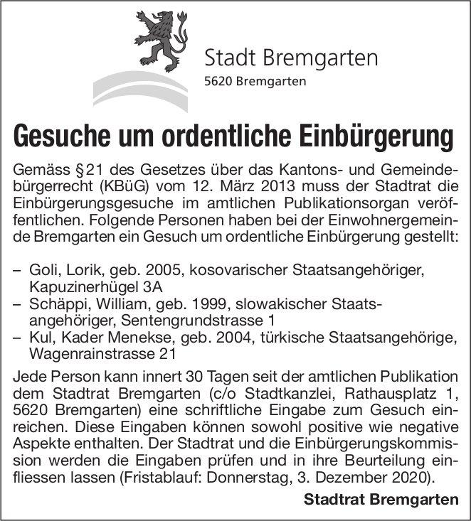Stadt Bremgarten, Gesuche um ordentliche Einbürgerung