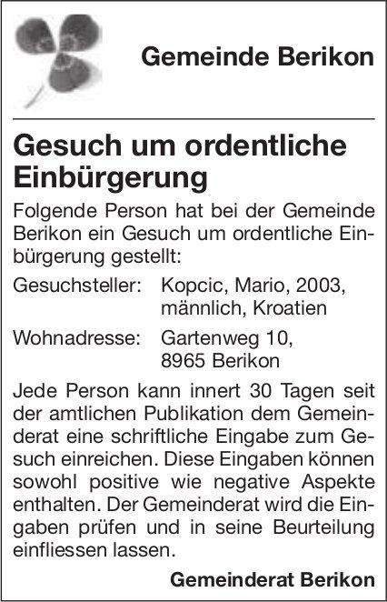 Gemeinde Berikon, Gesuch um ordentliche Einbürgerung