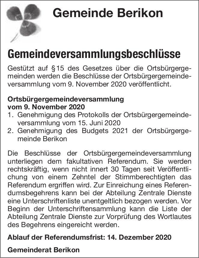 Gemeindeversammlungsbeschlüsse - Gemeinde Berikon