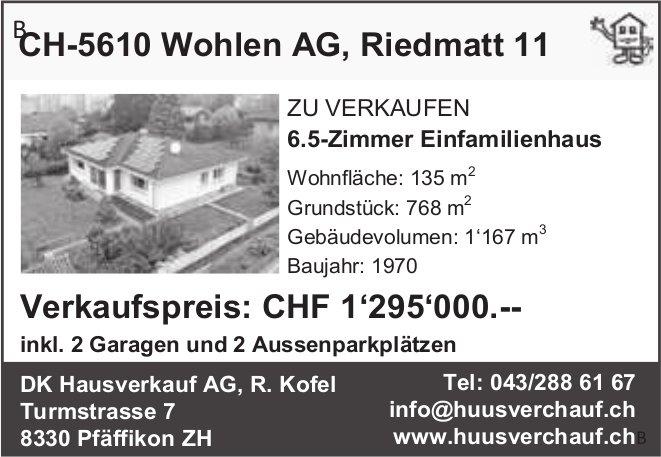 CH-5610 Wohlen AG, Riedmatt 11 Verkaufspreis: CHF 1'295'000.--, 6½-Zimmer-Wohnung, Pfäffikon ZH,  zu verkaufen