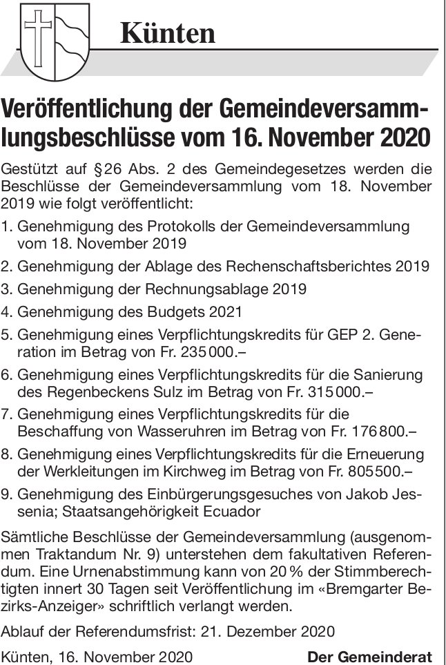 Künten - Veröffentlichung der Gemeindeversammlungsbeschlüsse vom 16. November 2020