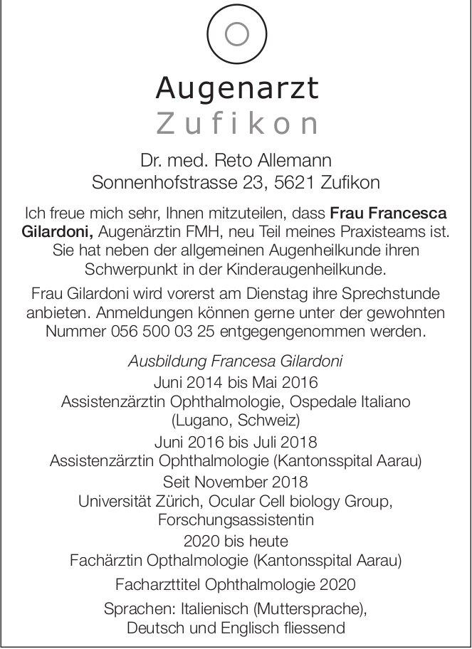 Augenarzt Dr. med. Reto Allemann in Zufikon - Neues Teammitglied