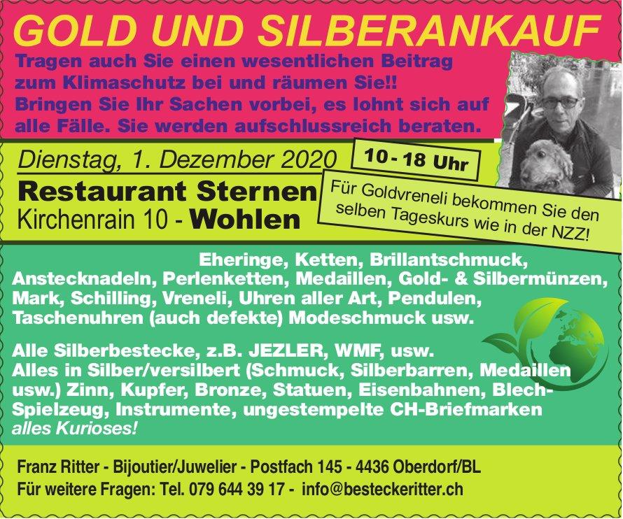 Gold- und Silberankauf am 1. Dezember in Wohlen