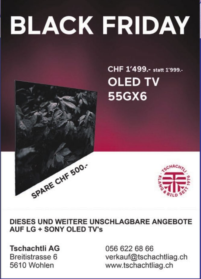 Tschachtli AG, Wohlen - Black Friday Angebote