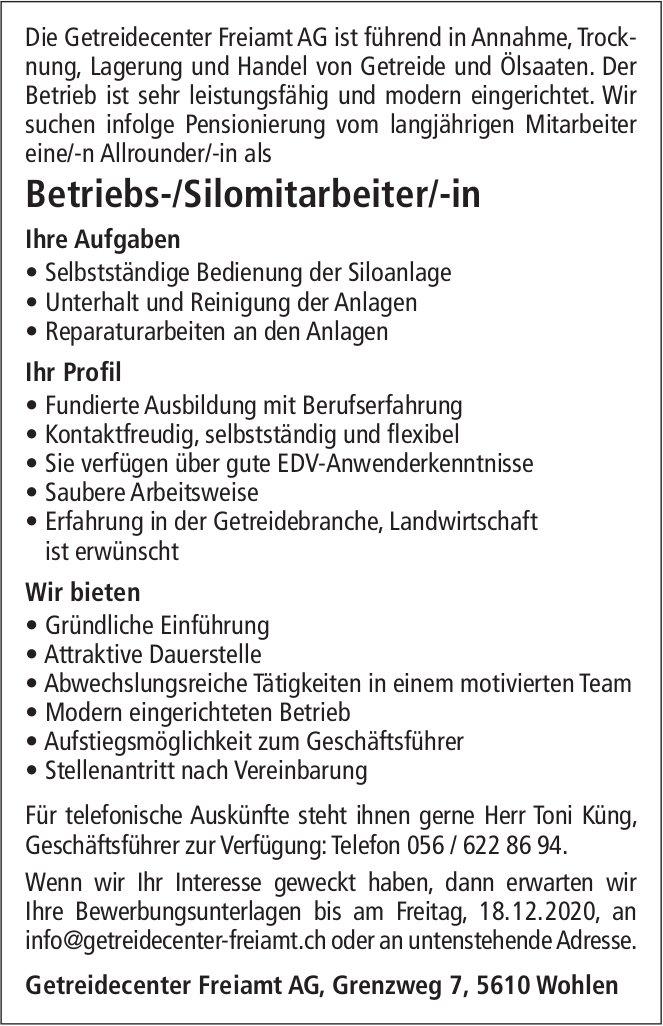Betriebs-/Silomitarbeiter/-in, Getreidecenter Freiamt AG, Wohlen, gesucht