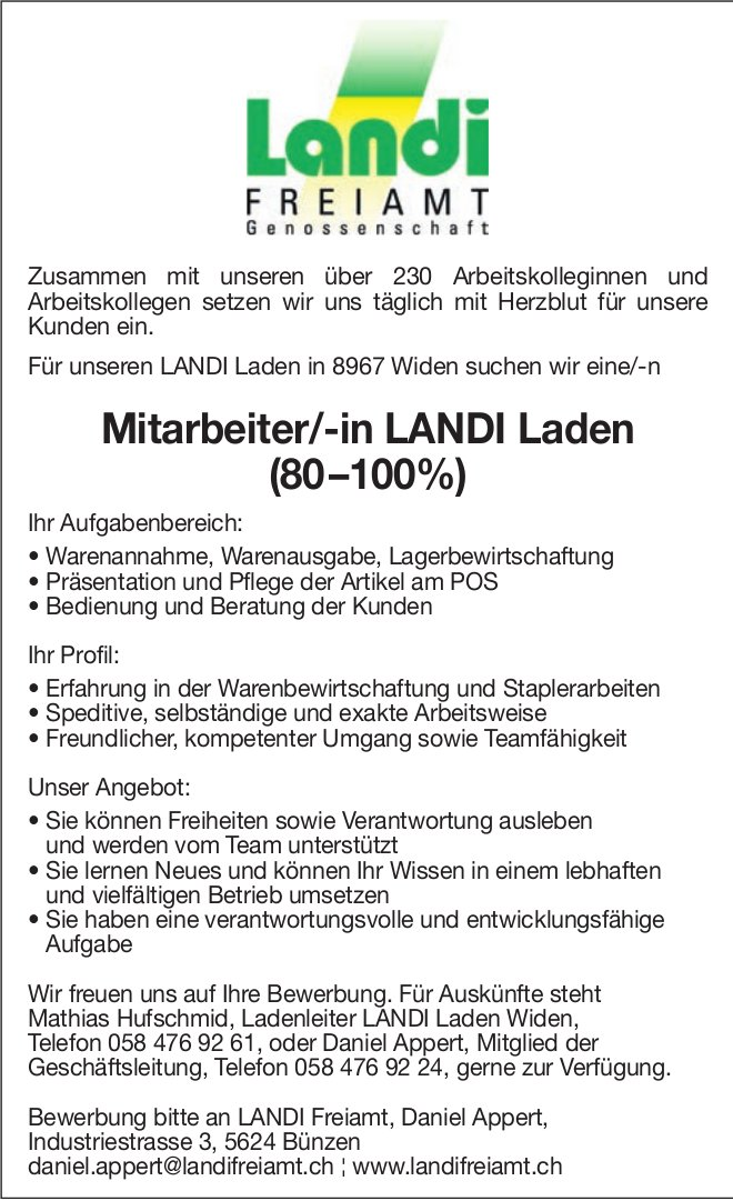 Mitarbeiter/-in LANDI Laden (80 –100%) gesucht