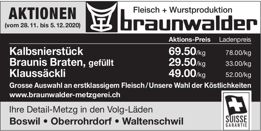 Braunwalder Metzgerei, Boswil - AKTIONEN