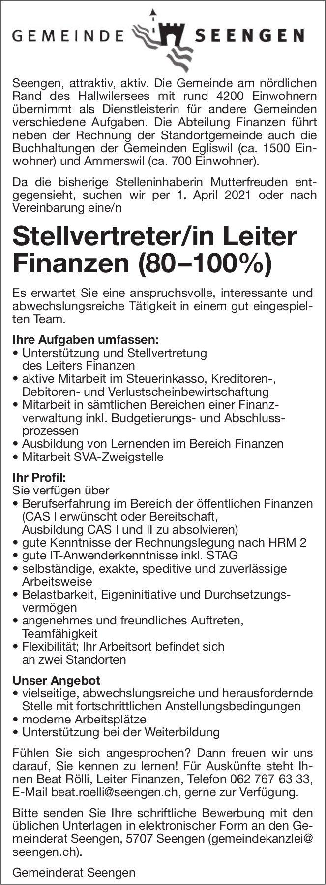 Stellvertreter/in Leiter Finanzen (80 –100%) Gemeinde Seengen, gesucht
