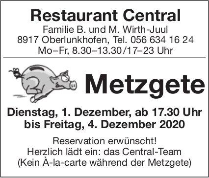Metzgete, 1. Dezember, Restaurant Central, Oberlunkhofen