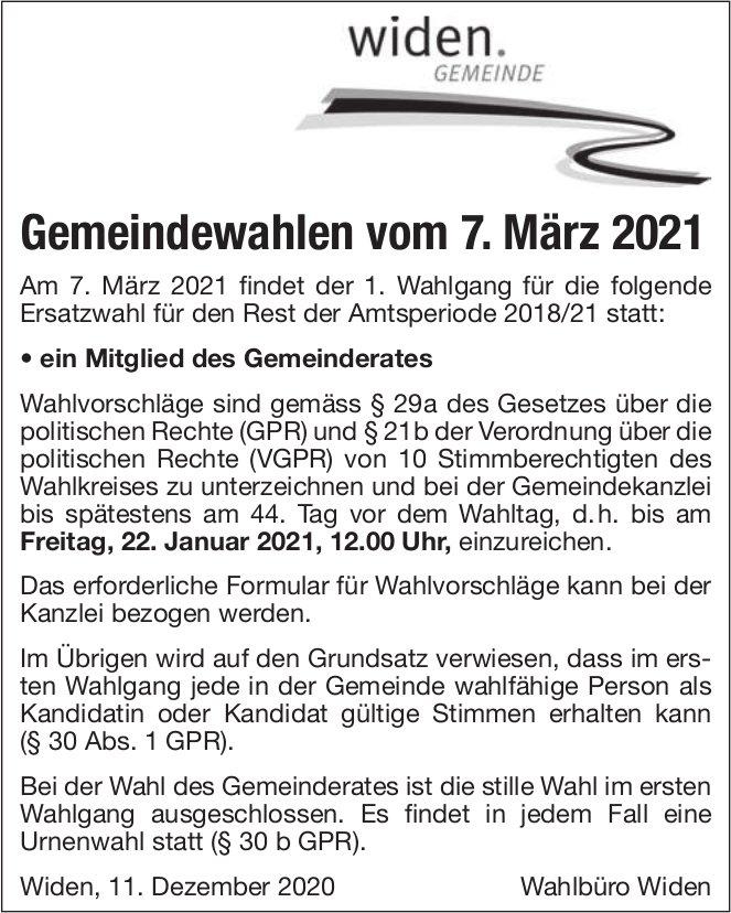Gemeinde Widen, Gemeindewahlen vom 7. März 2021