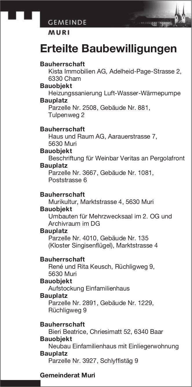 Gemeinde Muri - Erteilte Baubewilligungen