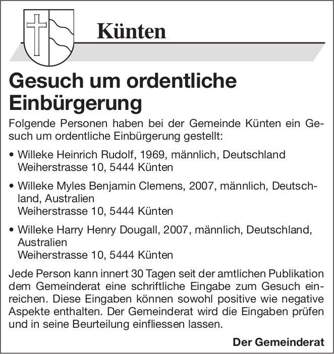 Gemeinde Künten - Gesuch um ordentliche Einbürgerung