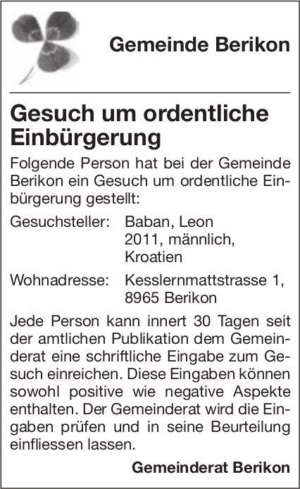 Gemeinde Berikon - Gesuch um ordentliche Einbürgerung
