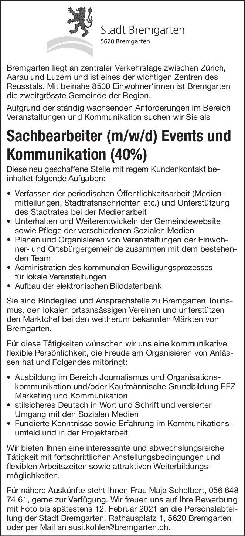 Sachbearbeiter (m/w/d) Events und Kommunikation (40%), Stadt Bremgarten gesucht