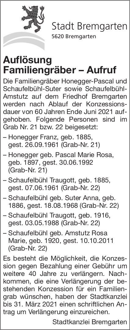 Stadt Bremgarten, Auflösung Familiengräber – Aufruf