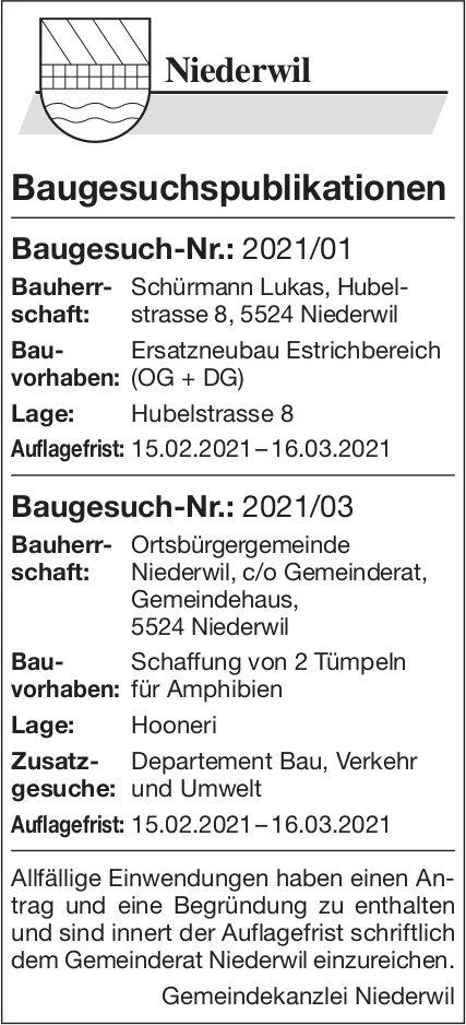 Gemeinde Niederwil - Baugesuchspublikationen