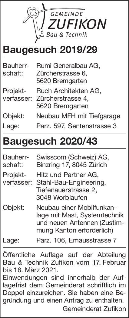 Gemeinde Zufikon - Baugesuche