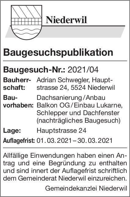 Gemeinde Niederwil - Baugesuchspublikation