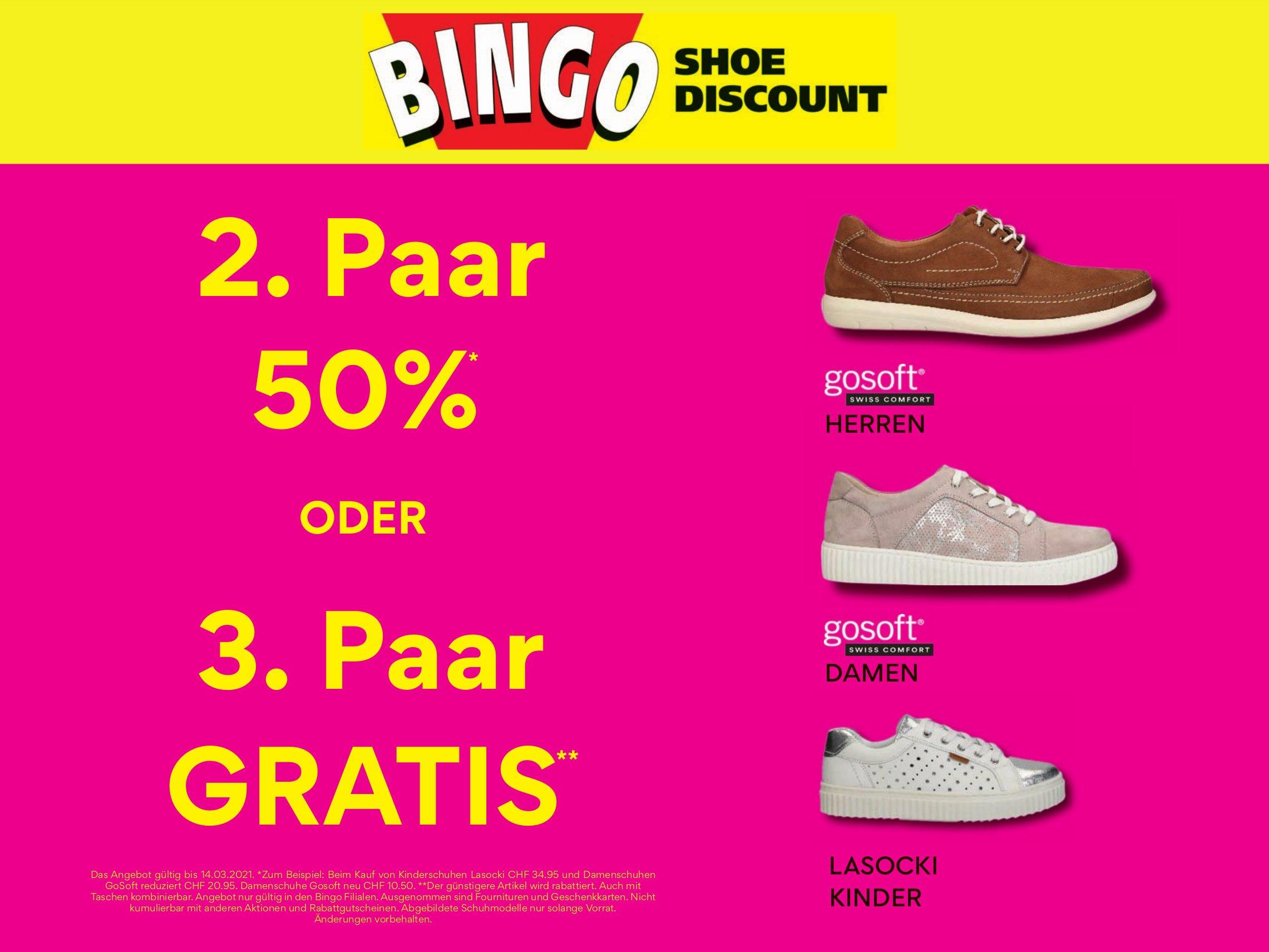 Bingo Shoe Discount - 2. Paar 50 %