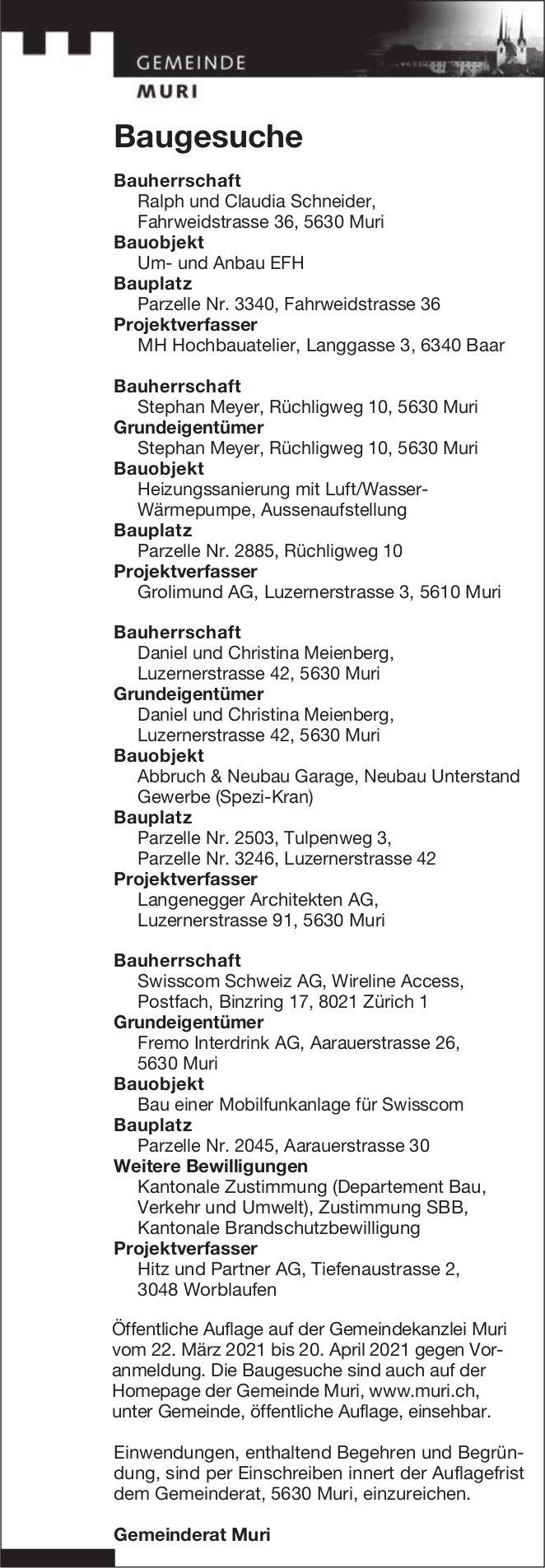 Gemeinde Muri - Baugesuche